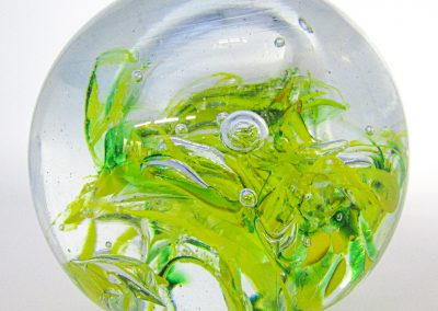 presse-papier sulfure verte et jaune