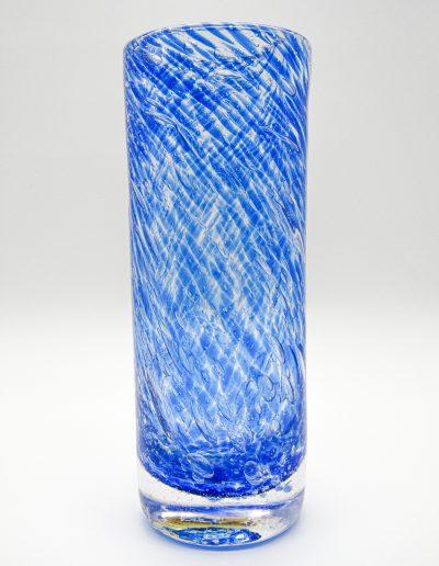 vase rond bleu transparent en verre soufflé patrick kimbert